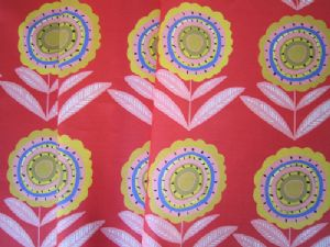 Big Daisy Red 68cms-Large-Yellow flowers on a Red Ground. Fabric for Curtains and Blinds